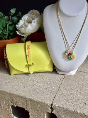 collar-gargantilla-cadena-minimalista-abalorio-hoja-palemera-esmaltada-bola-cristal-facetada-verano-alegria-optimismo