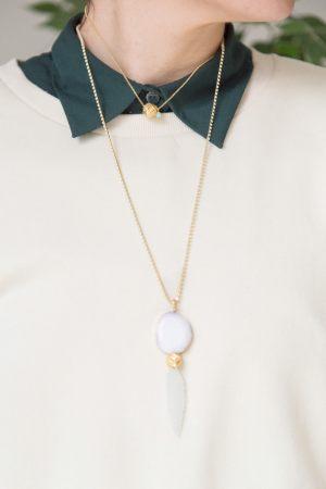Conjunto-Collar-largo-cadena-strass-agata-hoja-resina-gargantilla-collar-corto-cadena-eslabon-mini-bola-cabeza-de-turco-jade